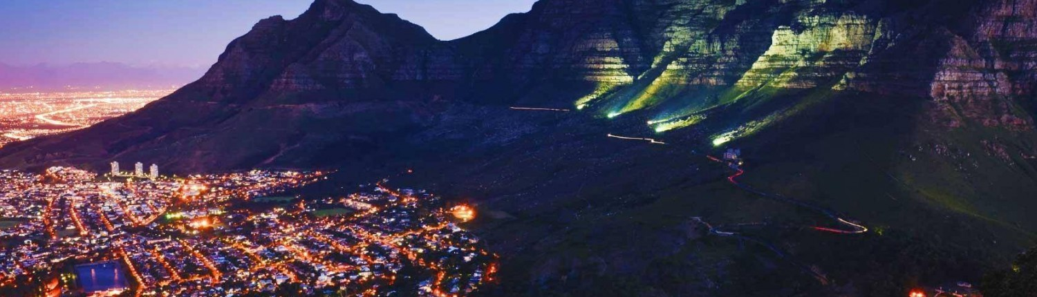 Garden Route Tour - Cape to Addo Safari - Cape Town at Night view of Table Mountain