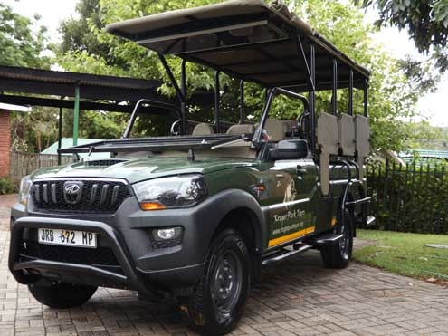 Open-sided safari vehicle on a Kruger Camping Safari
